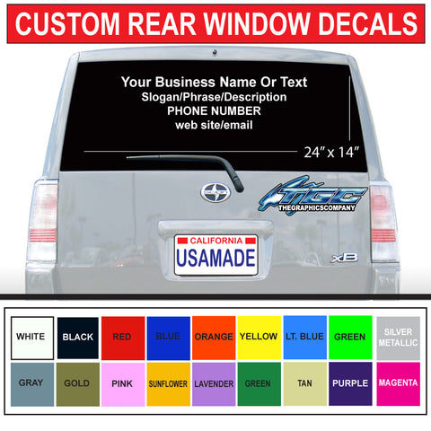"24"" x 14"" Rear Car/Truck Window Graphics"