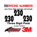 Racing Numbers Vinyl Decals Stickers Anakeim 3 pack