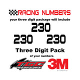 Racing Numbers Vinyl Decals Stickers Bitsumishi 3 pack