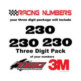 Racing Numbers Vinyl Decals Stickers Black Oak 3 digit pack