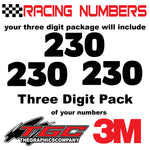 Racing Numbers Vinyl Decals Stickers Boris 3 digit pack