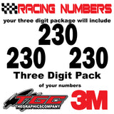 Racing Numbers Vinyl Decals Stickers Franklin Heavy 3 pack