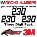 Racing Numbers Vinyl Decals Stickers Hemi Head 3 pack