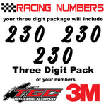 Racing Numbers Vinyl Decals Stickers Kadisoka 3 pack
