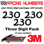 Racing Numbers Vinyl Decals Stickers Kristen 3 pack