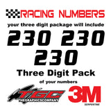 Racing Numbers Vinyl Decals Stickers Serpentine 3 pack