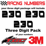 Racing Numbers Vinyl Decals Stickers RedRocket 3 pack