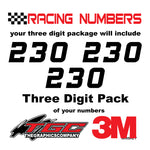 Racing Numbers Vinyl Decals Stickers Whiskey 3 pack