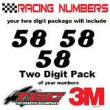 Racing Numbers Vinyl Decals Stickers Magneto 3 pack