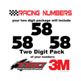 Racing Numbers Vinyl Decals Stickers Anakeim 2 digit pack