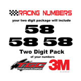 Racing Numbers Vinyl Decals Stickers Black Oak 2 digit pack