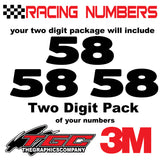 Racing Numbers Vinyl Decals Stickers Boris 2 digit pack