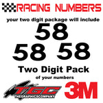 Racing Numbers Vinyl Decals Stickers Century 3 pack
