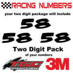 Racing Numbers Vinyl Decals Stickers Noisy 3 pack
