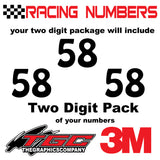 Racing Numbers Vinyl Decals Stickers Hobo 3 pack