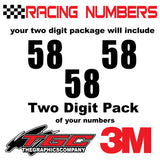 Racing Numbers Vinyl Decals Stickers Impact 3 pack
