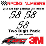 Racing Numbers Vinyl Decals Stickers Informal 3 pack