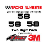 Racing Numbers Vinyl Decals Stickers Bitsumishi 2 digit pack