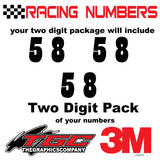 Racing Numbers Vinyl Decals Stickers Playbill 3 pack