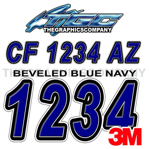 Beveled Blue Navy Boat Registration Numbers