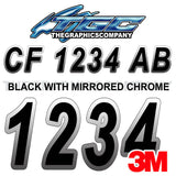 Black with Chrome Boat Registration Numbers