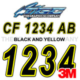 Black and Yellow Boat Registration Numbers