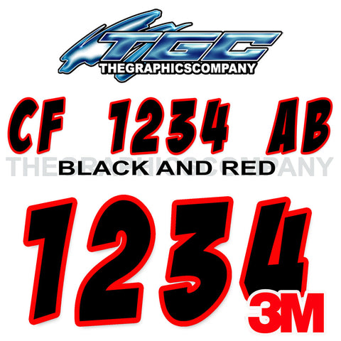 Black and Red Badaboom Boat Registration Numbers