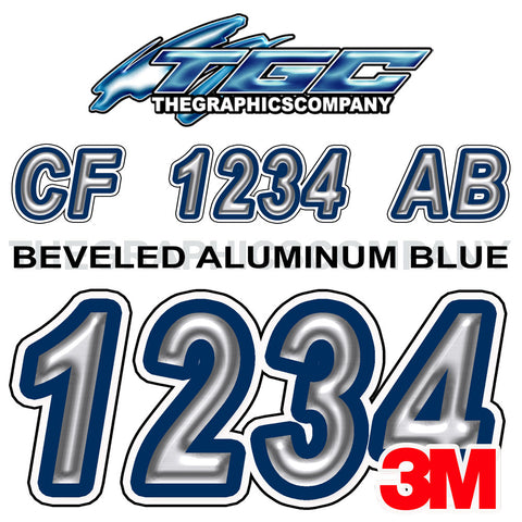 Brushed Aluminum with Dark Blue Boat Registration Numbers