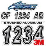 Brushed Metal Registration Numbers