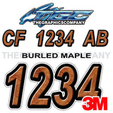 Burled Maple Boat Registration Numbers