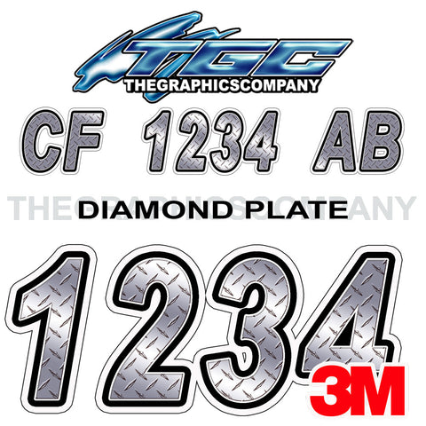Diamond Plate Boat Registration Numbers