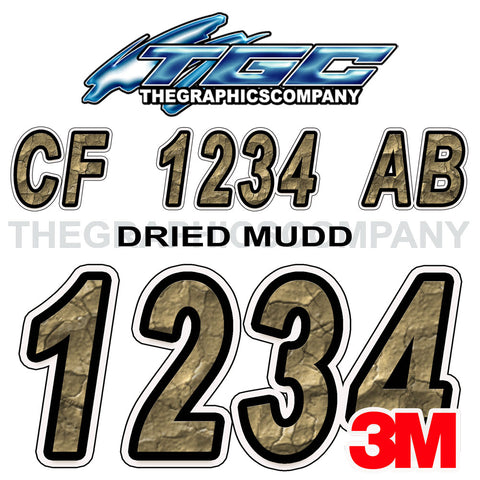 Dried Mud Boat Registration Numbers
