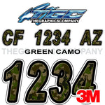 Green Camo Custom Boat Registration Numbers