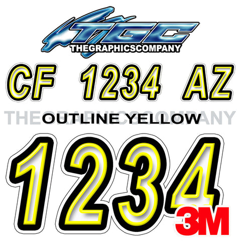 Outlined Yellow Boat Registration Numbers