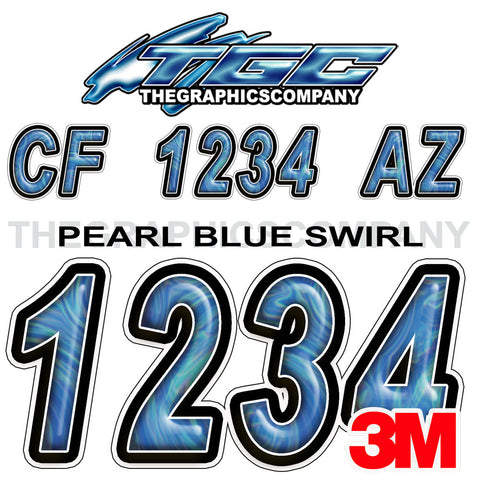 Pearl Blue Swirl Boat Registration Numbers