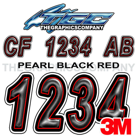 Pearl Black Red Boat Registration Numbers