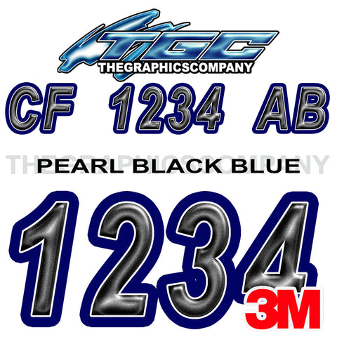 Pearl Black Blue Boat Registration Numbers