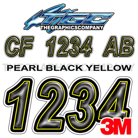 Pearl Black Yellow Boat Registration Numbers