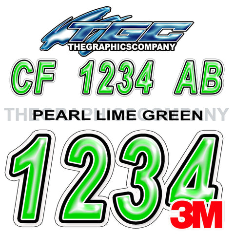 Pearl Lime Green Boat Registration Numbers