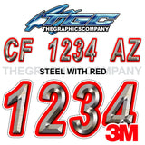 Steel with Red Boat Registration Numbers