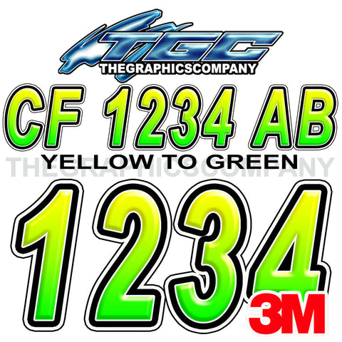 Green and Yellow Boat Registration Numbers