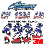 American Flag Custom Boat Registration Number
