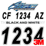 Black and White Boat Registration Numbers