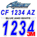 Blue and White Boat Registration Numbers