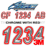 Chrome with Red Outline Boat Registration Numbers