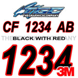 Black with Red Outline Boat Registration Numbers
