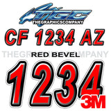 Beveled Red Boat Registration Numbers