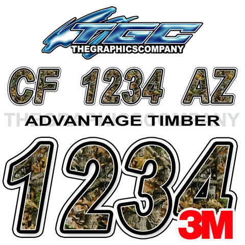 Timber Camo Boat Registration Numbers