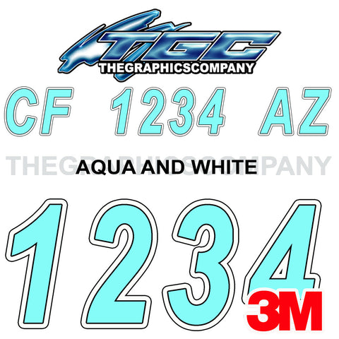 Aqua White Boat Registration Numbers