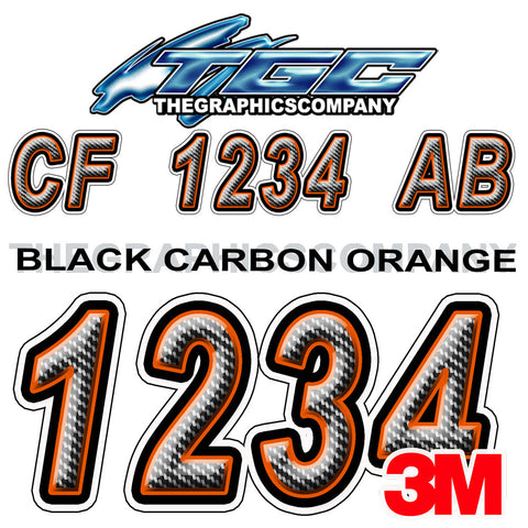 Black Carbon with Orange Boat Registration Numbers